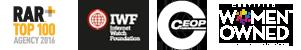 RAR logo, Internet Watch Foundation logo, CEOP logo, Women Owned business logo