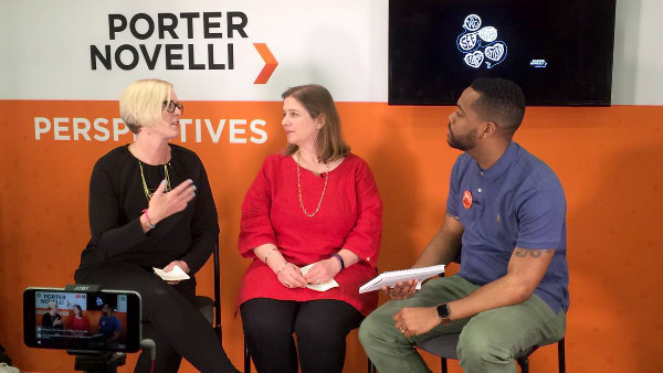 Ashley Cooksley and Kate Hartley of Polpeo talking to Harold Reid at the Porter Novelli Perspectives series at SXSW.