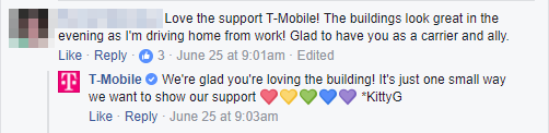 T-Mobile personalised response on Facebook.